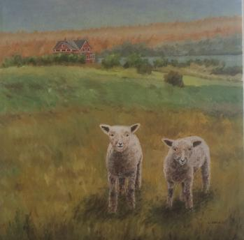Two Lambs oil painting