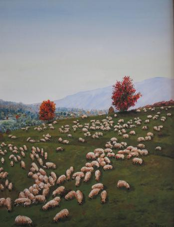 Grazing sheep painting in oil