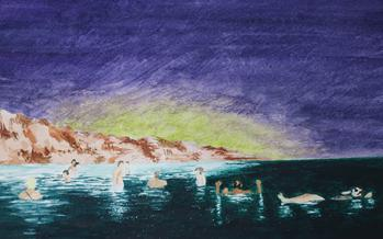 Swimmers watercolor painting