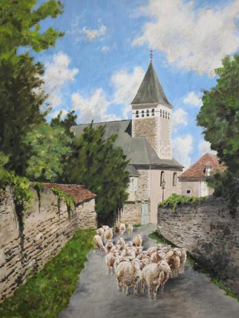 Sheep on Rue du Donjon in Le Blanc, Oil painting