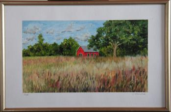 Oil painting of red building in grassy field