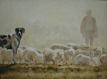 Sheep herd shepherds painting